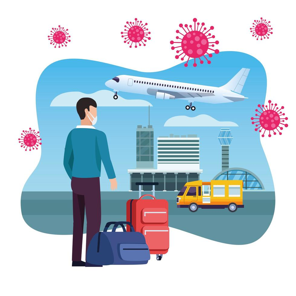 manlig resenär med ansiktsmask på flygplatsen vektor