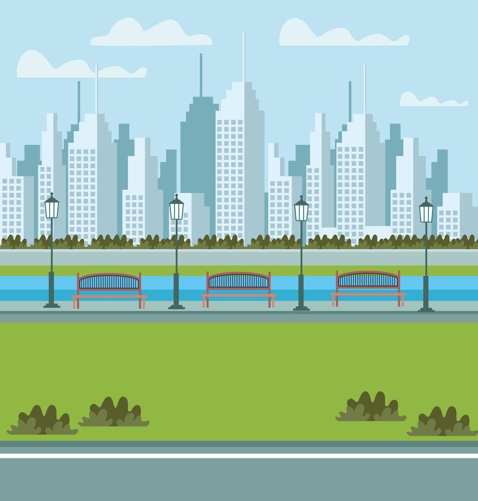park och stadsbild urban scen med bänkar för sittande vektor
