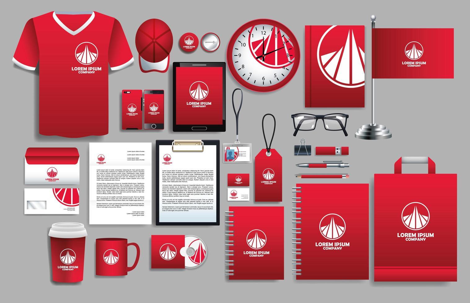 uppsättning röda, vita logotypelement med brevpappermallar vektor