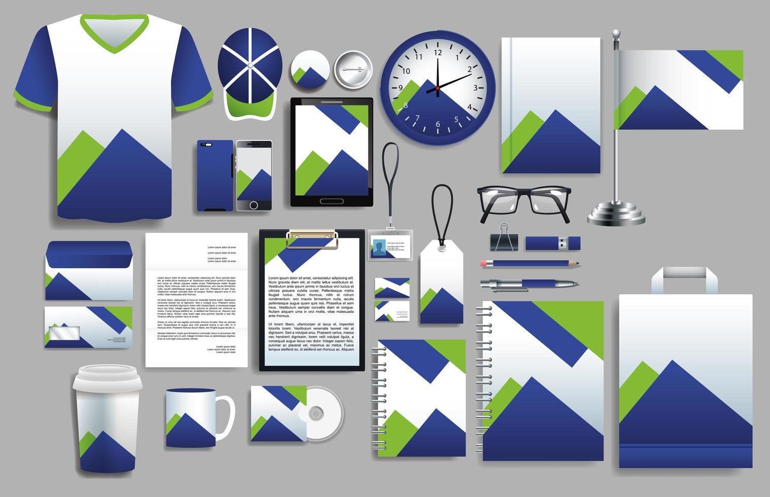 uppsättning blå, gröna element med brevpappermallar vektor