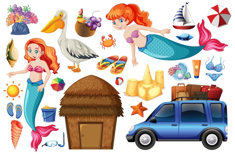 Satz Meerjungfrau und Sommerferien Symbole und Zeichen vektor