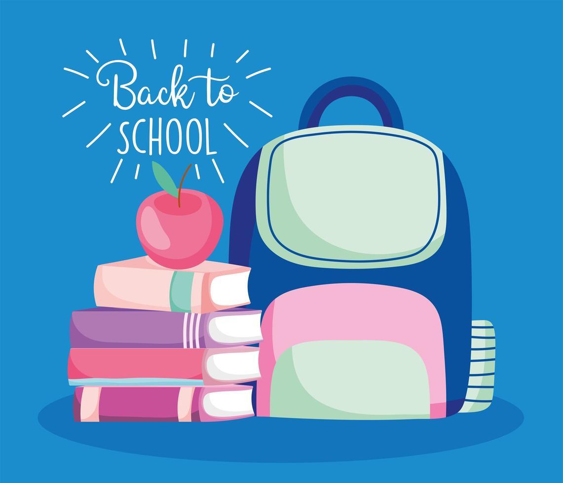 tillbaka till skolan söt ryggsäck och böcker kortmall vektor