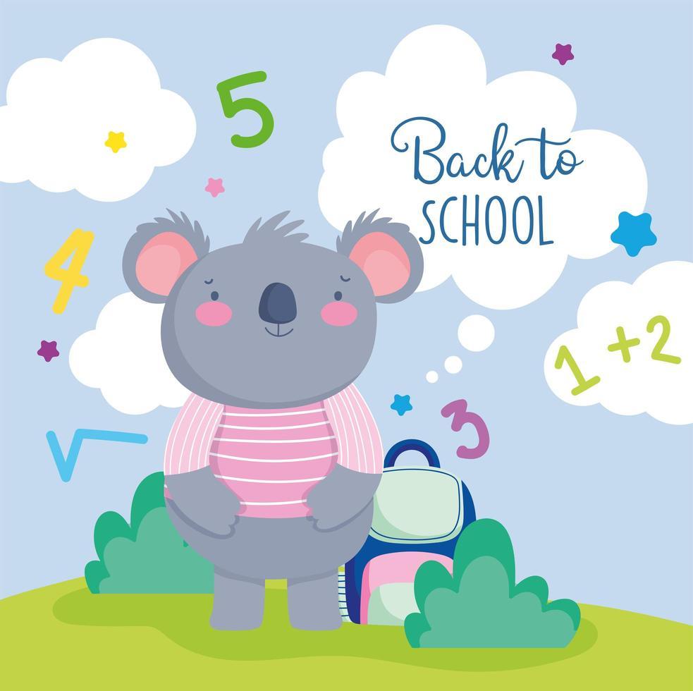 söt koala tillbaka till skolmallen vektor