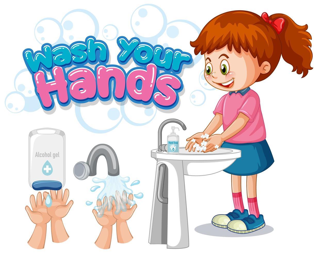 Waschen Sie Ihre Hände Poster mit Mädchen Hände waschen vektor