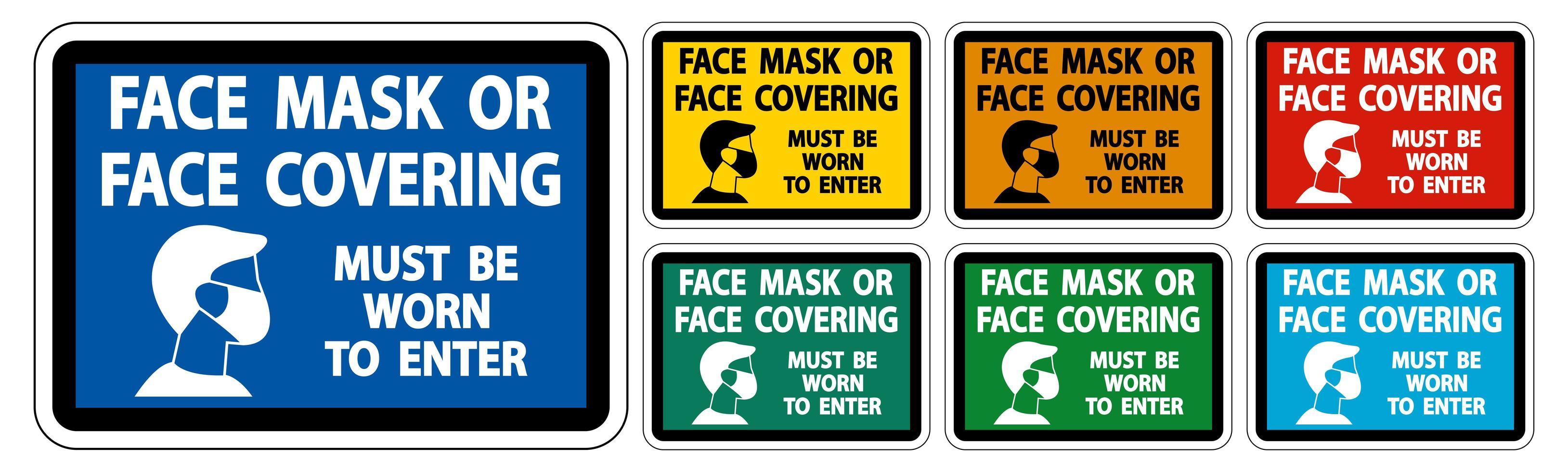 ansiktsmask som täcker måste bäras teckenuppsättning vektor
