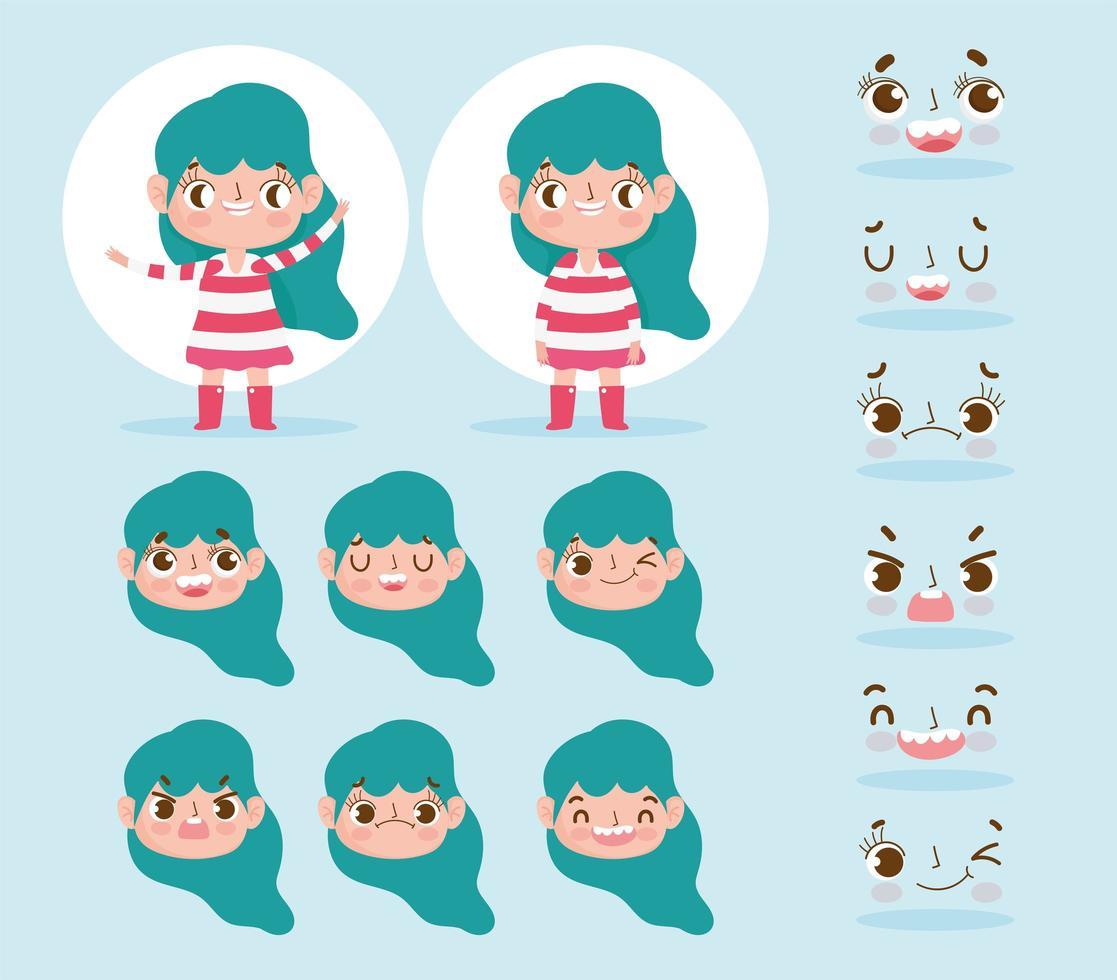 grünhaarige kleine Mädchenköpfe und Gesichter gesetzt vektor