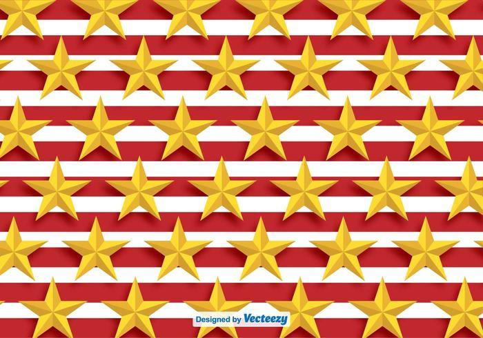 Vector goldene Sterne Muster mit roten Streifen