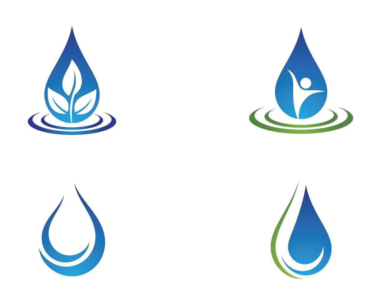 vattendroppe logotyp Ikonuppsättning vektor