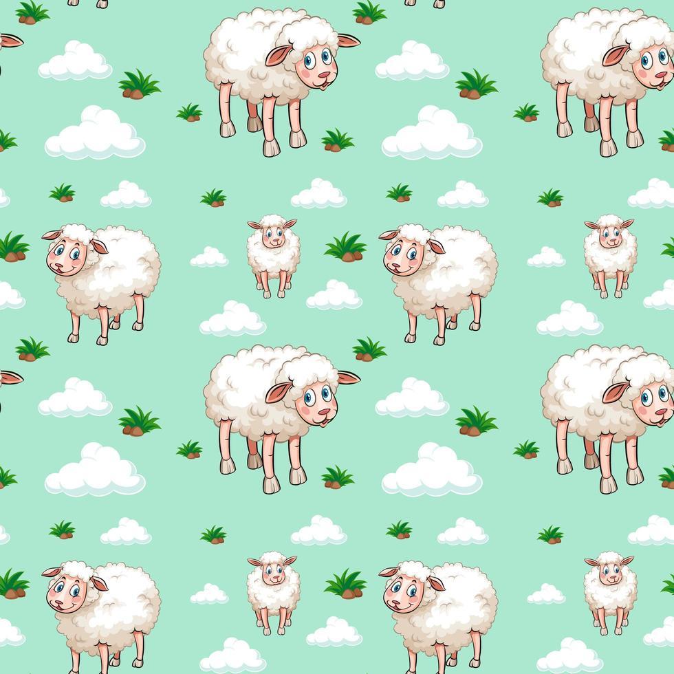 weißes Schaf- und Wolkenmuster vektor