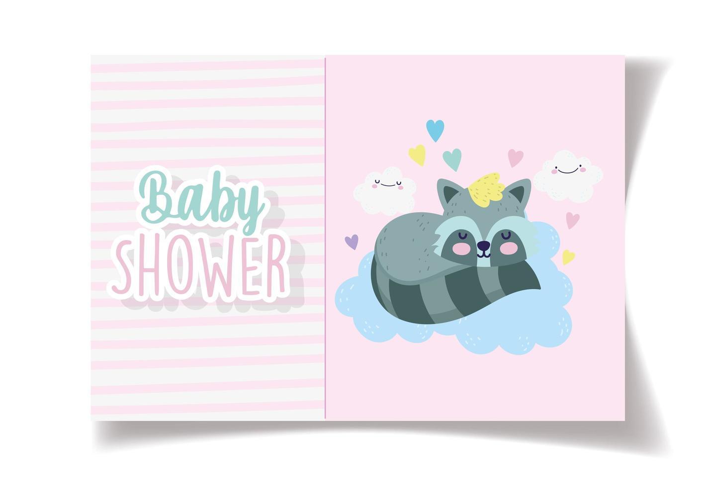 baby shower kort mall med söt tvättbjörn tjej vektor