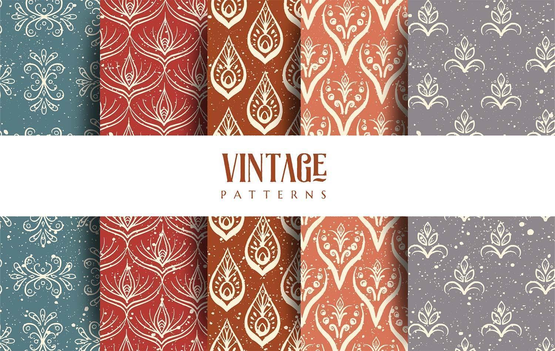 fünf Vintage Muster Design Pack vektor