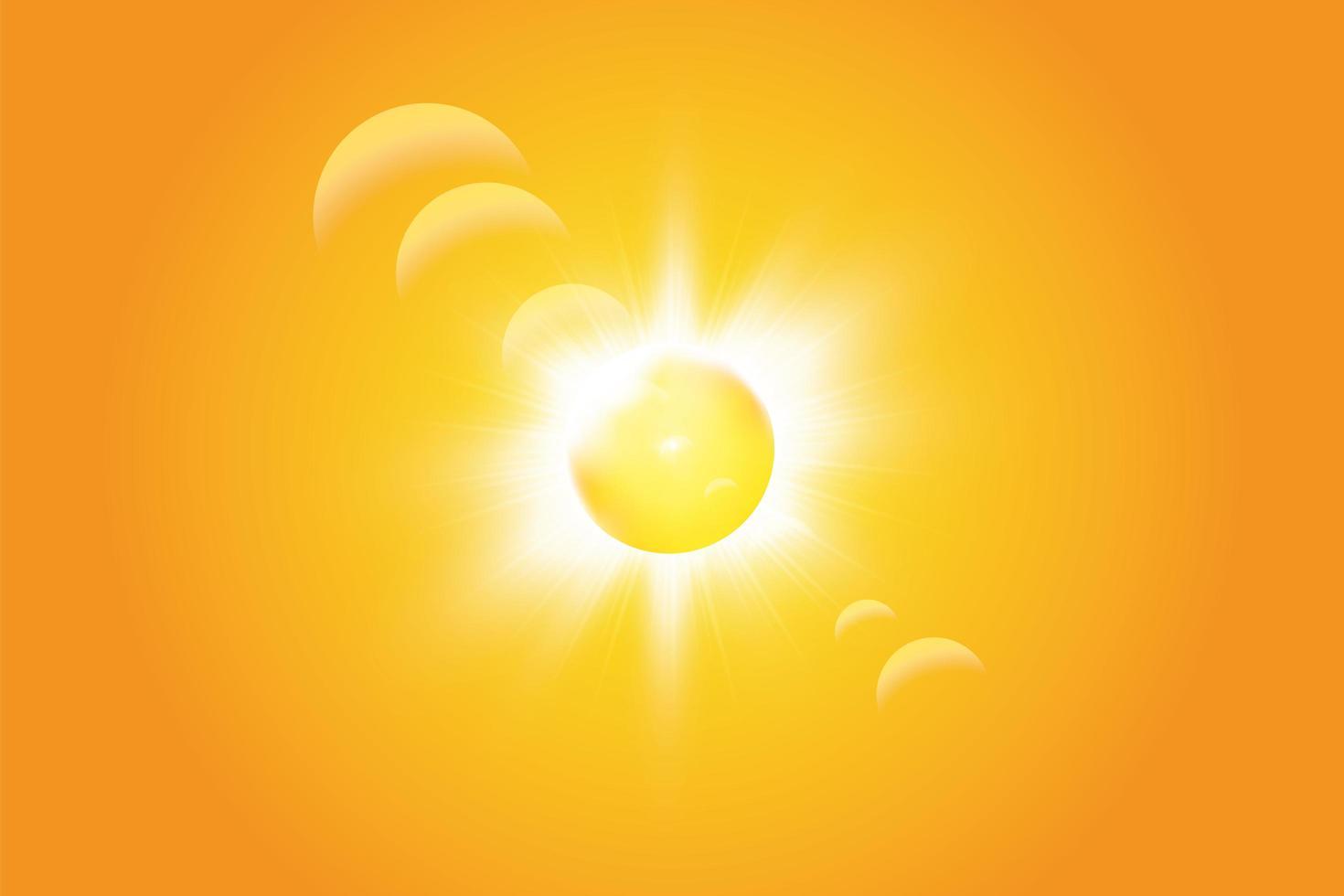 varm sol på en gul bakgrund vektor