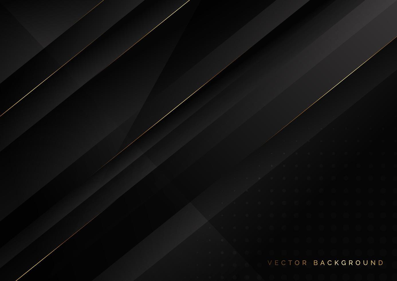 diagonal svart bakgrund med gyllene linjer vektor