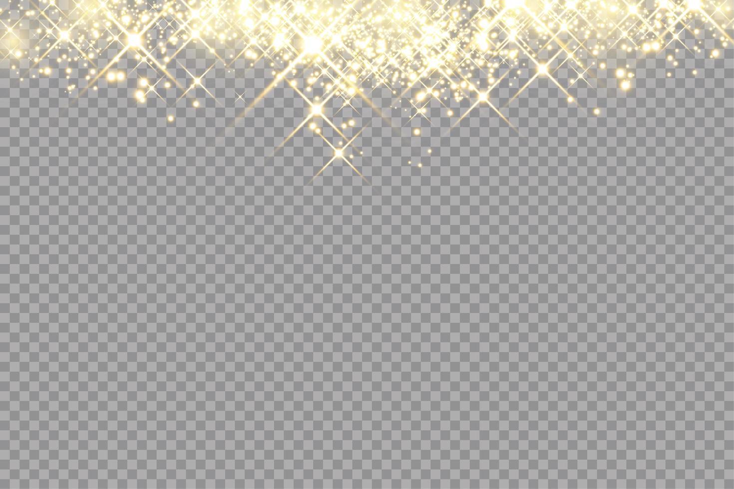 gyllene gnistor glitter speciell ljuseffekt vektor