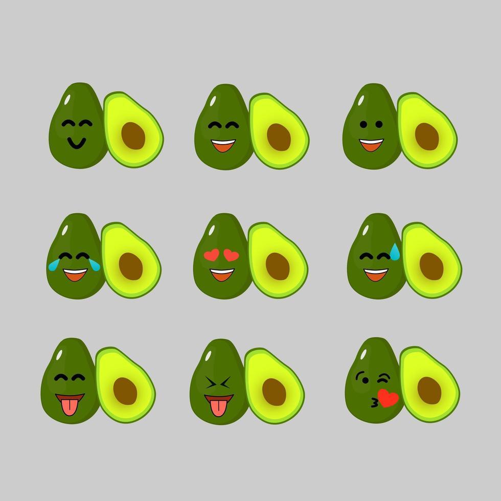 Avocado Emoji setzt Emoticon vektor