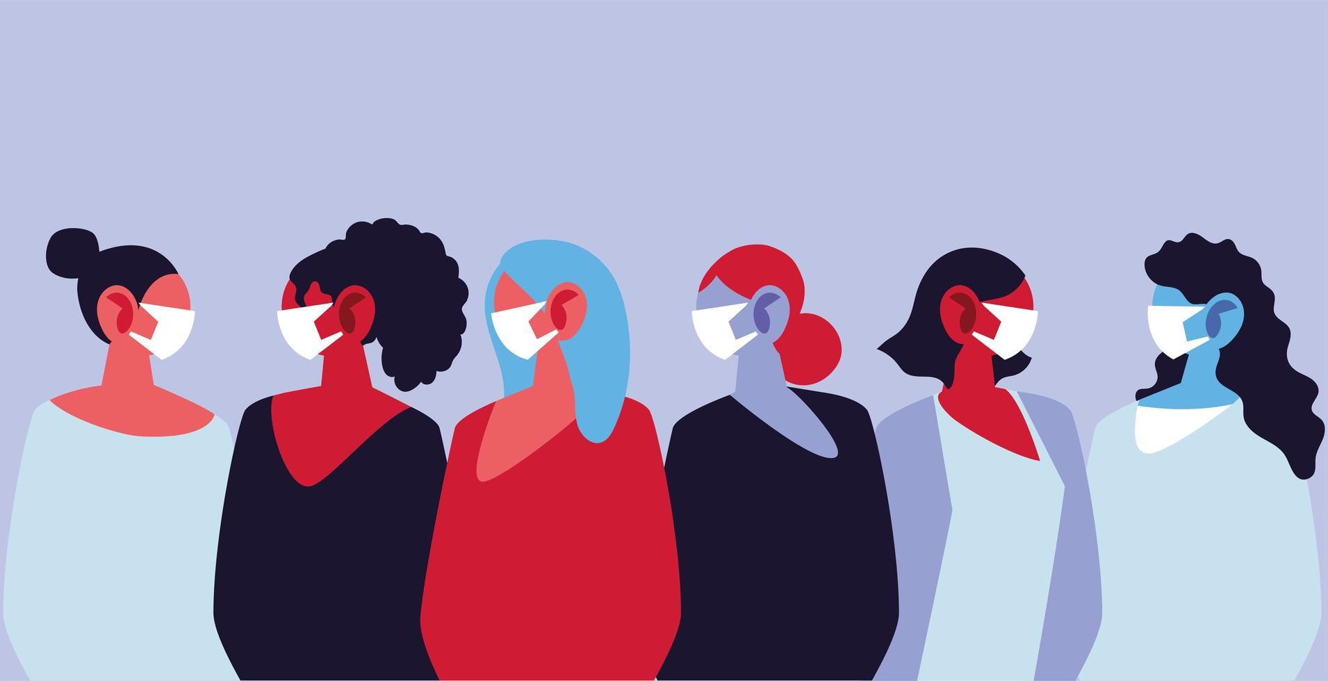 kvinnor som använder medicinska ansiktsmasker och skyddar sig själva vektor