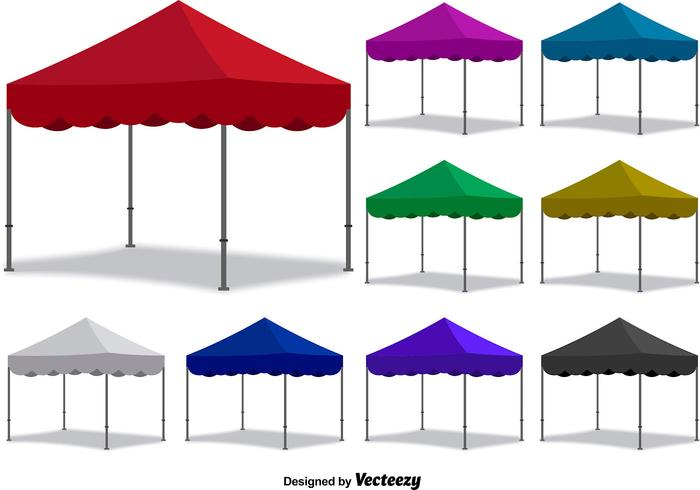 Vektor Färgglada Fällbara Tält Set