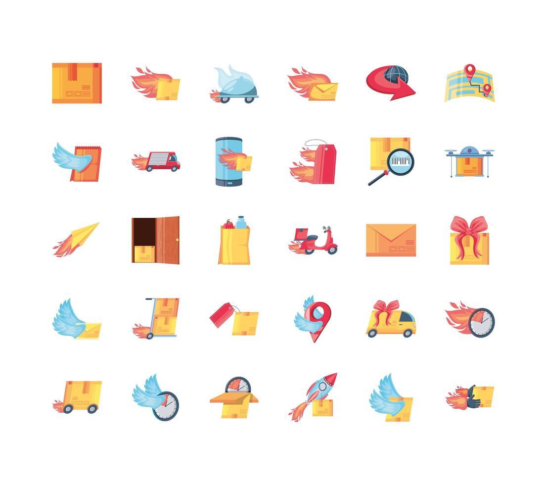 schnelle Lieferung Icons Sammlung vektor