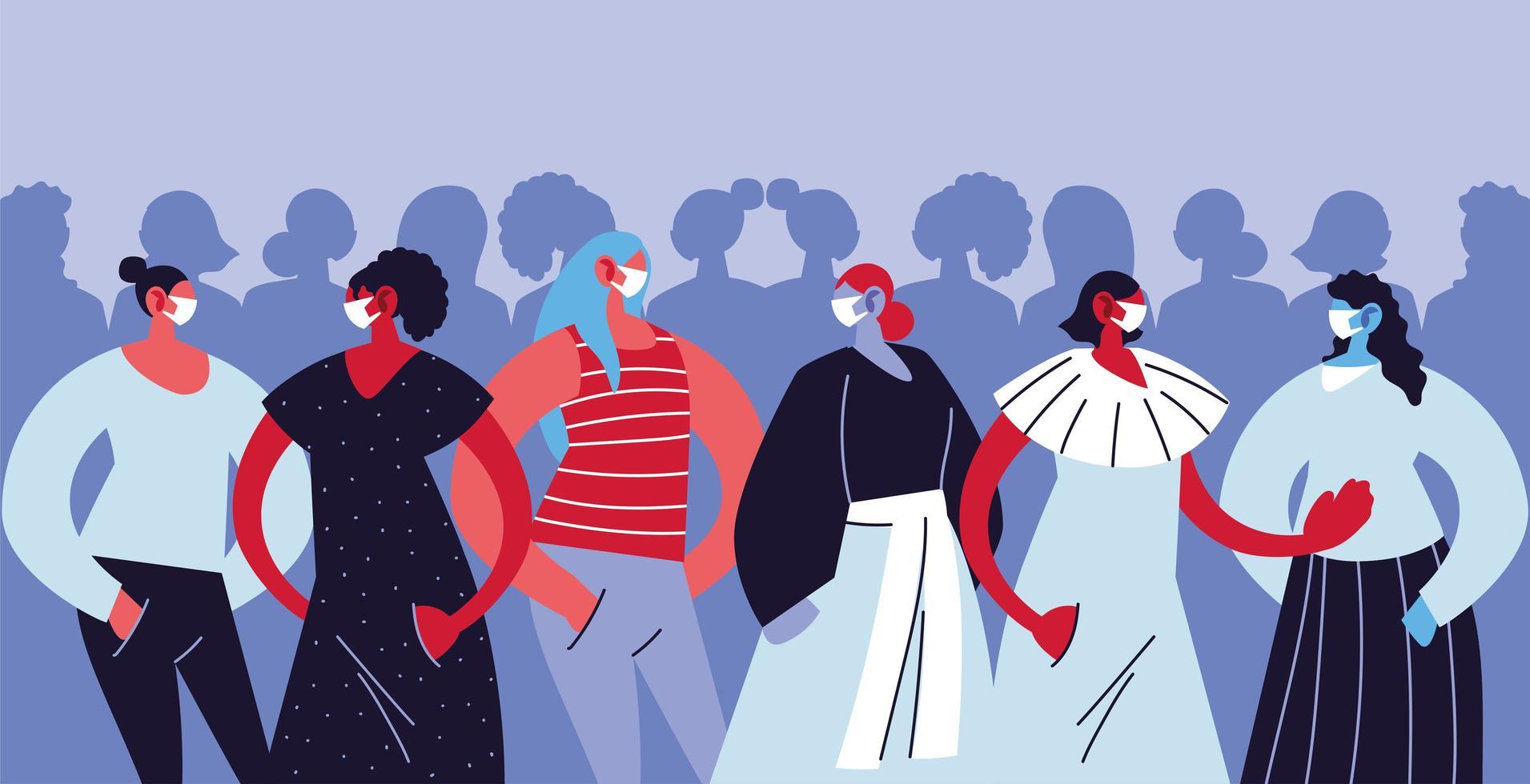 kvinnor som bär medicinska masker och skyddar sig mot infektion vektor