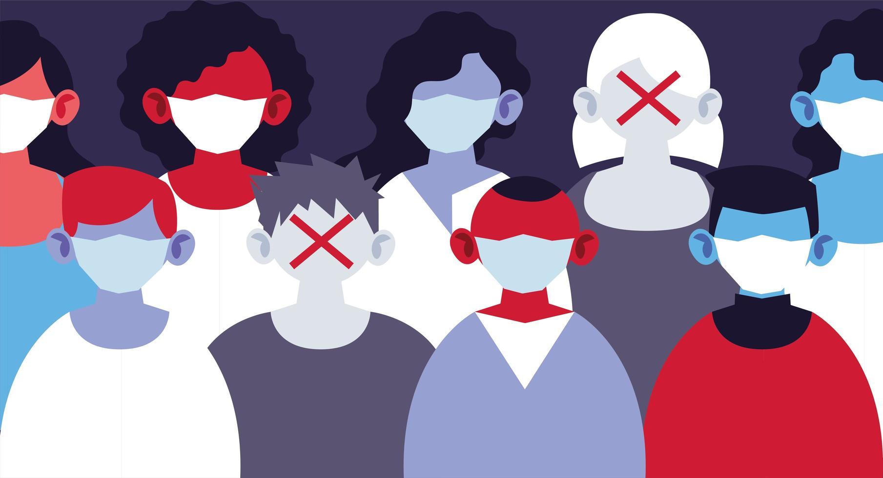 Gruppe von Menschen mit medizinischen Masken und sich selbst schützen vektor