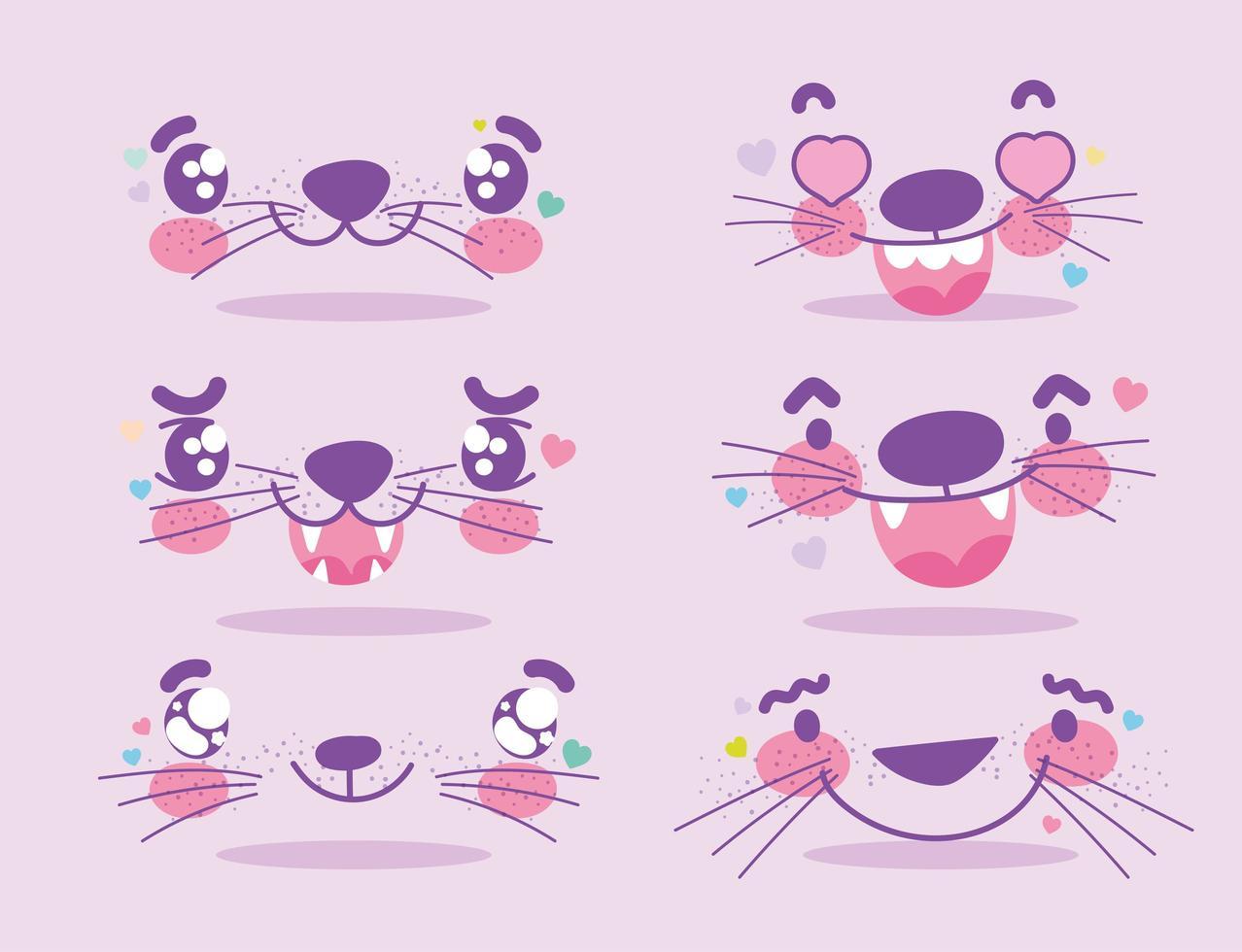 kawaii söta djur ansiktsuttryck emoji uppsättning vektor