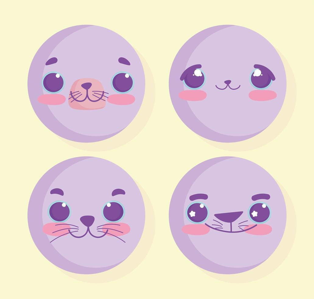 kawaii djur emoji uppsättning vektor