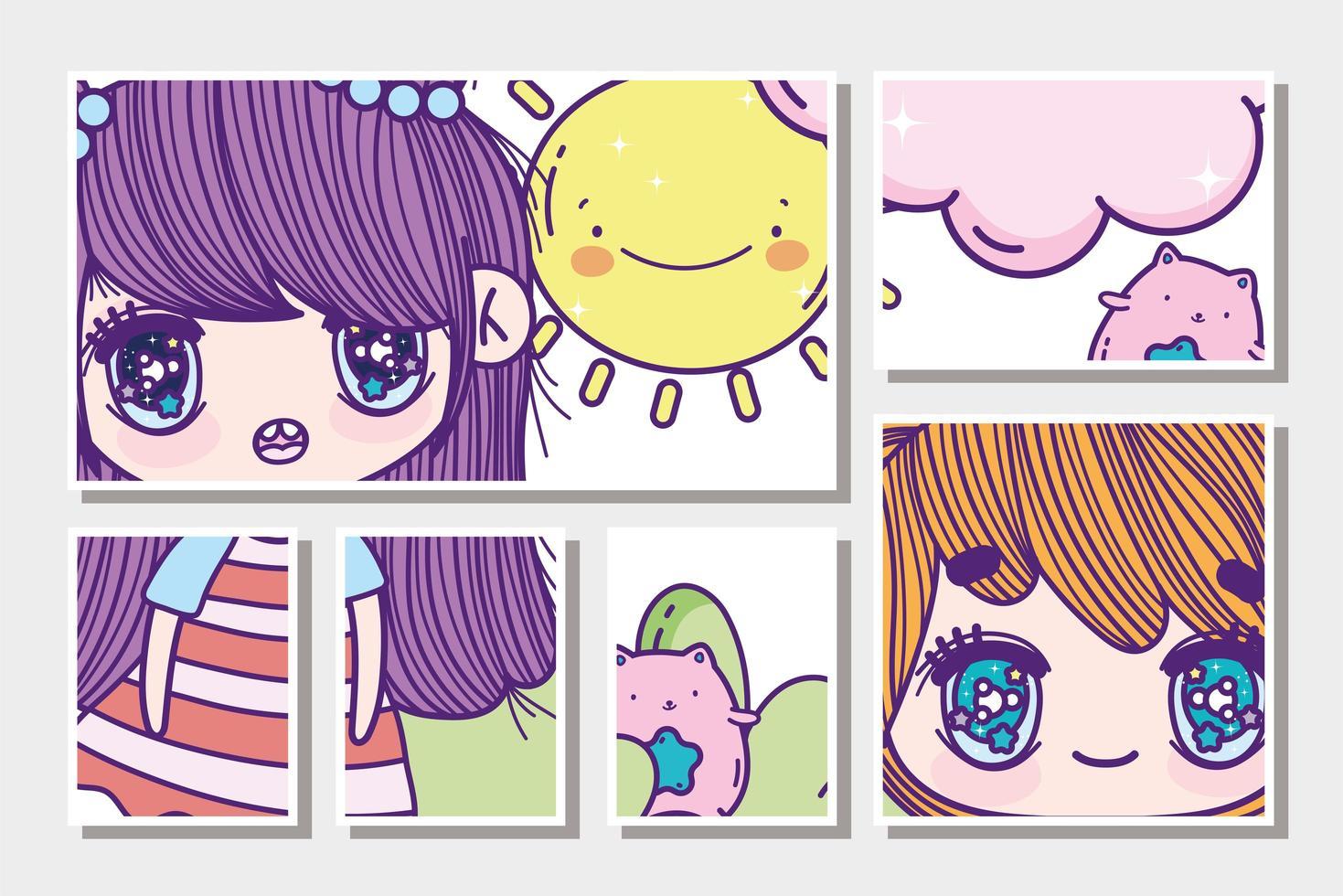 Anime-Mädchen mit Katzen- und Sonnenkarten vektor