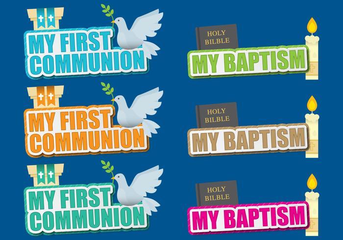 Kommunion und Taufe Titel vektor
