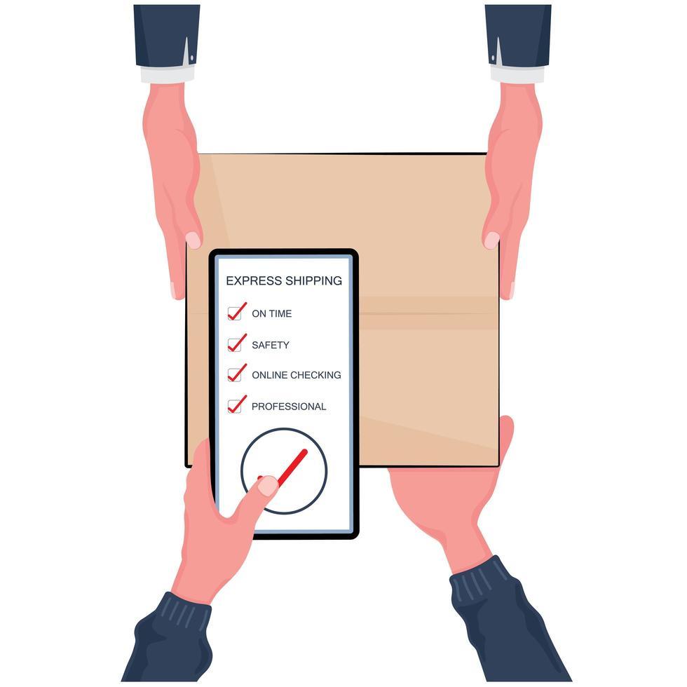 Schnelles Lieferkonzept und Online-Shopping vektor