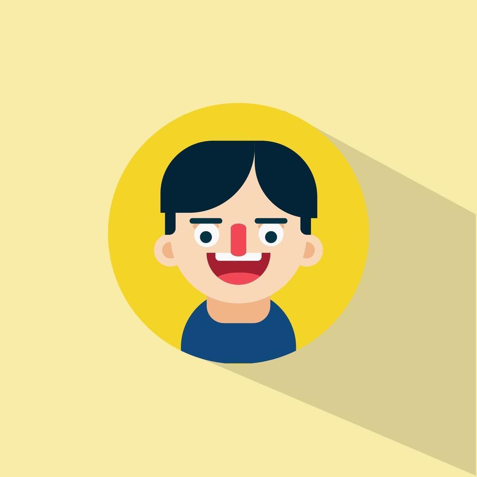 ung man skrattar ansikte uttryck vektor