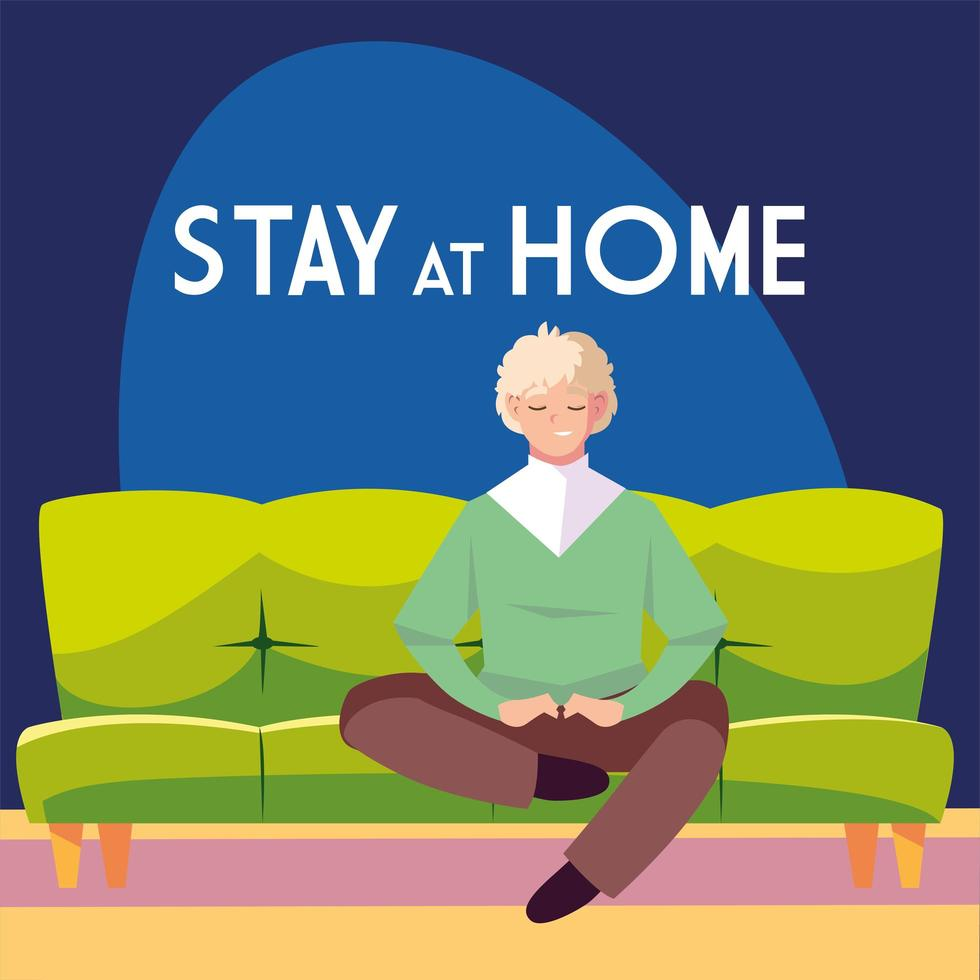 stanna hemma medvetenhet med mannen sitter på soffan vektor