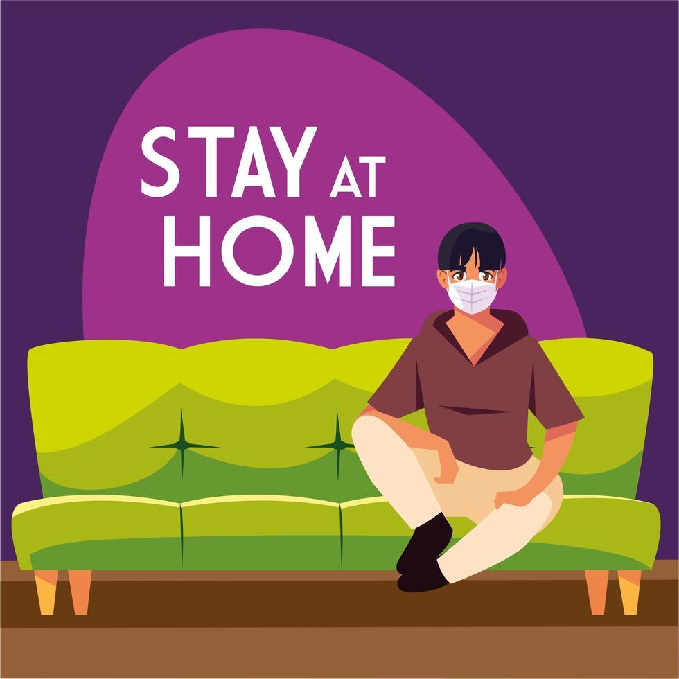stanna hemma medvetenhet och ung man i soffan vektor