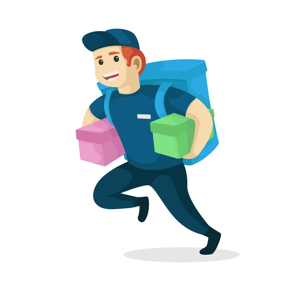 Lieferbote läuft mit Paketen und Tasche vektor