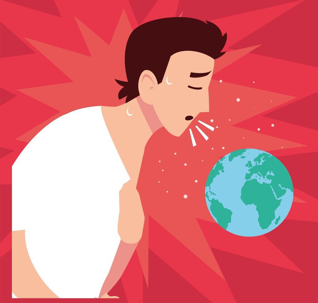 ung man smittad med coronavirus vektor