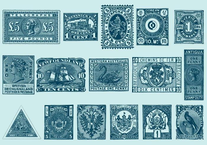 Weinlese Briefmarken vektor