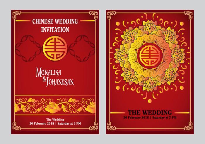 Chinesische Hochzeits-Einladung zurück und vorderer Entwurf vektor