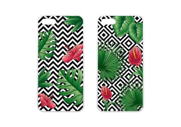 Telefon Fall Tropischer Grüner Vektor