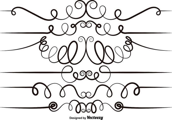 Vektor Set av Scrollwork Elements