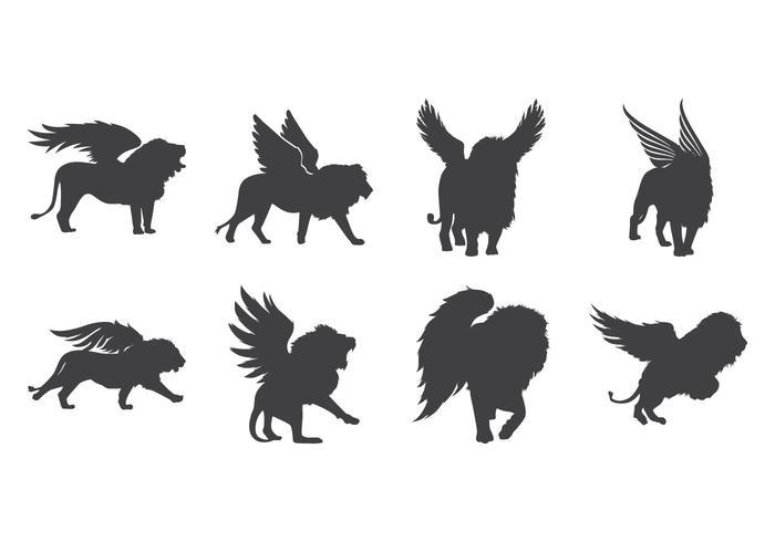 Free Winged Lion Silhouette Vektor