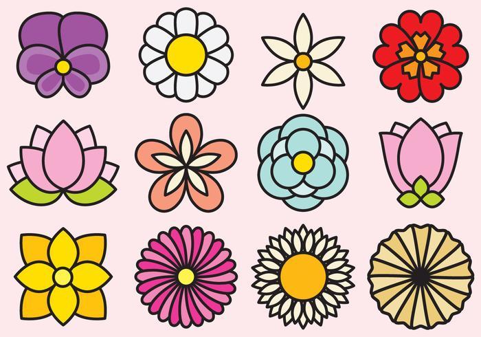 Nette Blumen Ikonen vektor