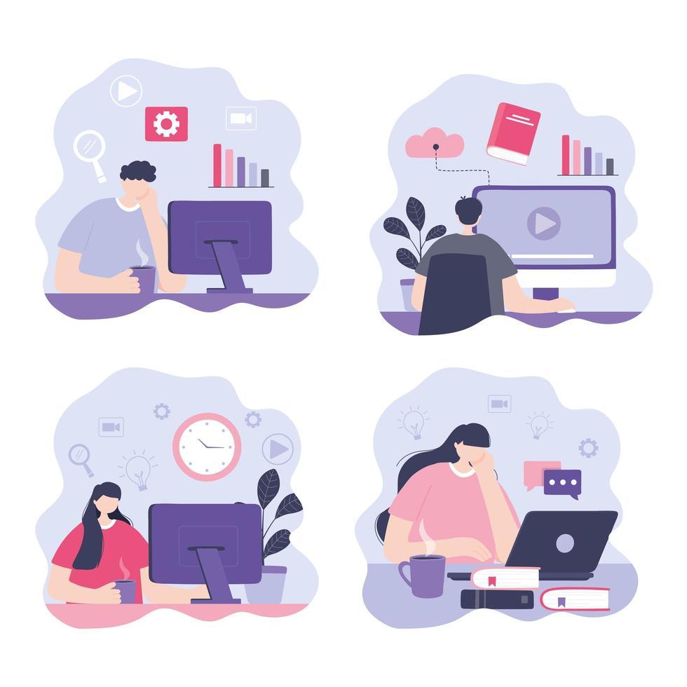 uppsättning personer som tar online-kurser vektor