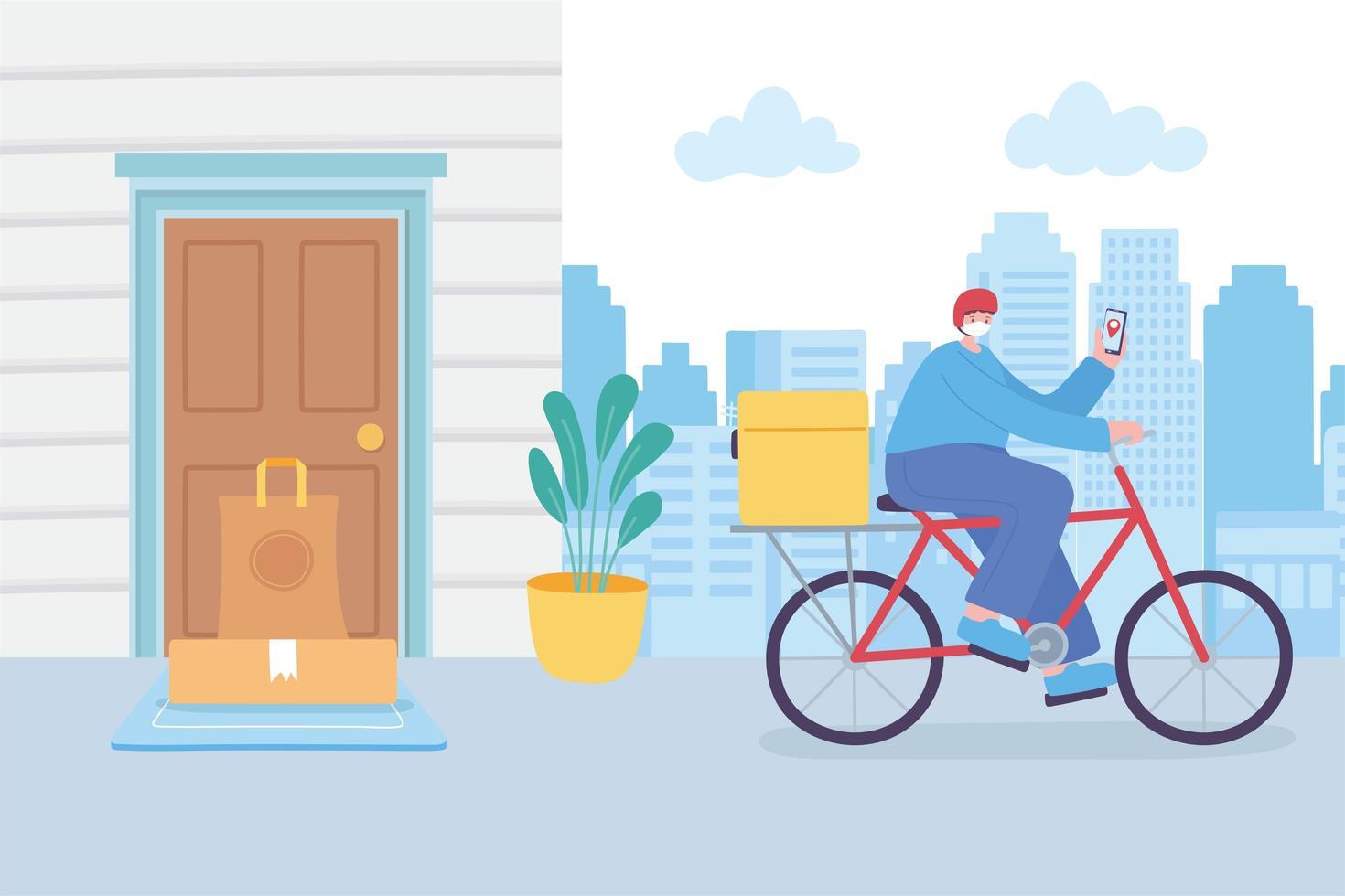 Online-Lieferservice mit Fahrradkurier vektor