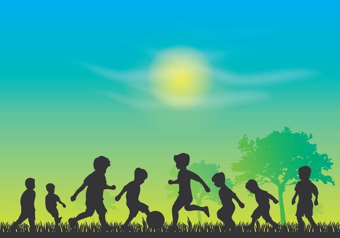 Kinder Tag Silhouette Vektor
