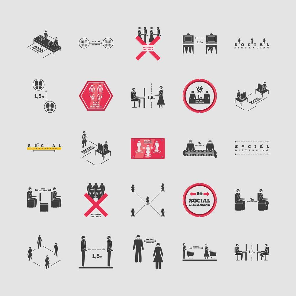 uppsättning ikoner för social distans vektor