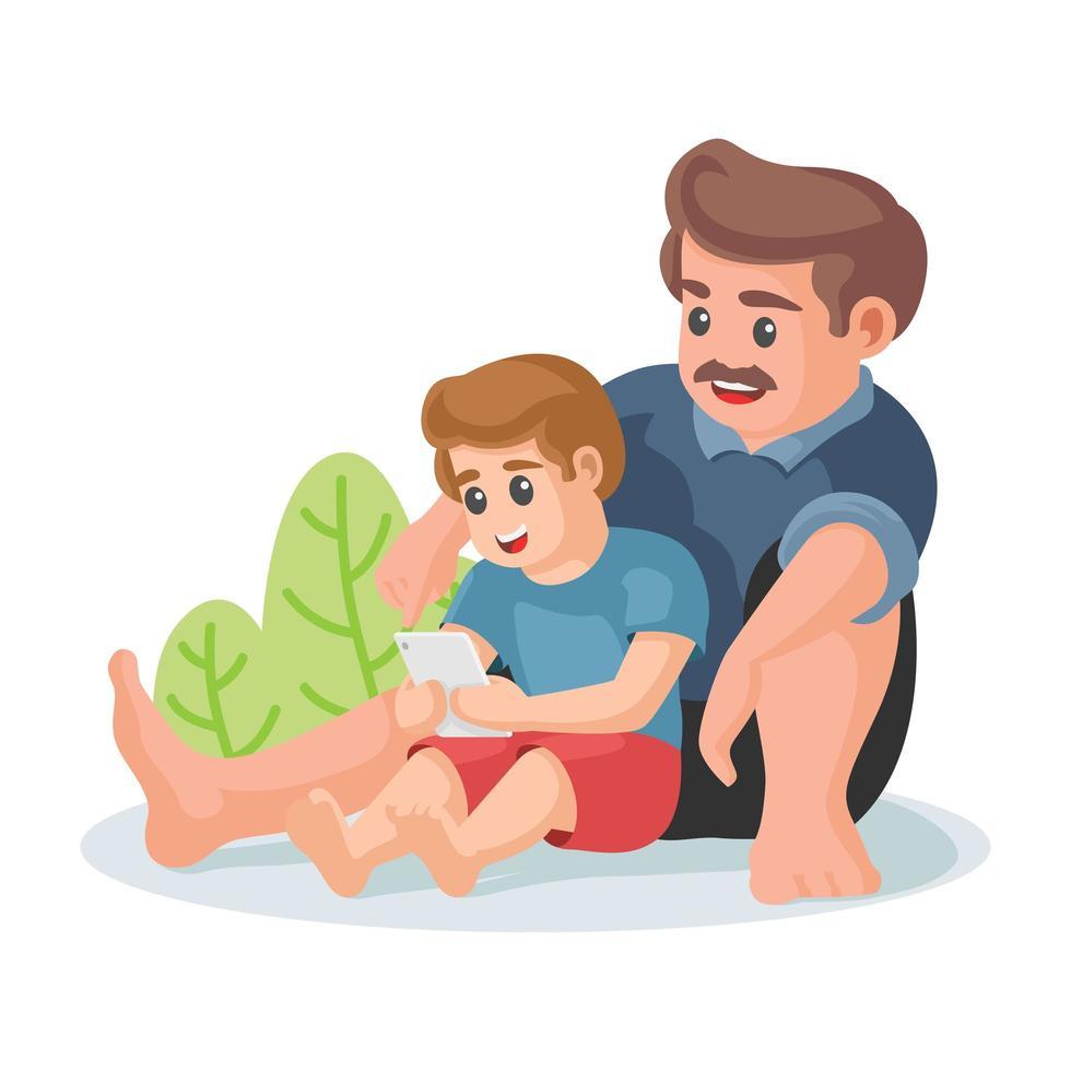 Vater und Sohn schauen sich ein Video auf dem Tablet an vektor