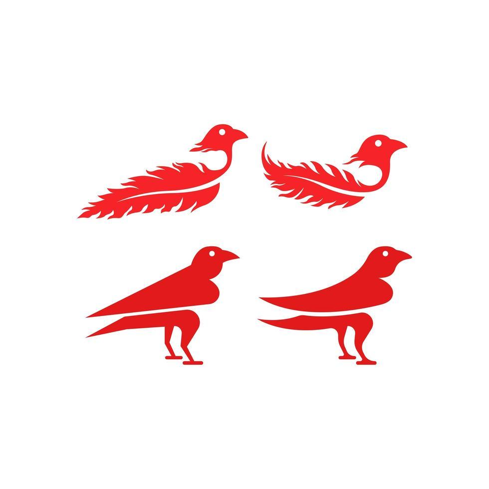 röda fåglar med fjäderuppsättning vektor