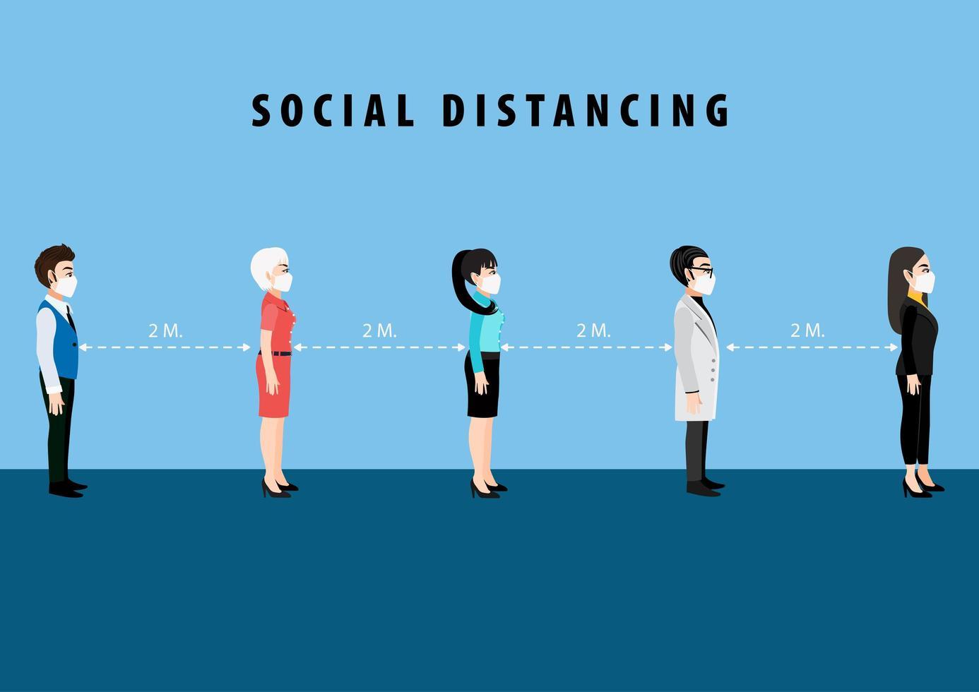 tecknad karaktär social distancing affisch vektor