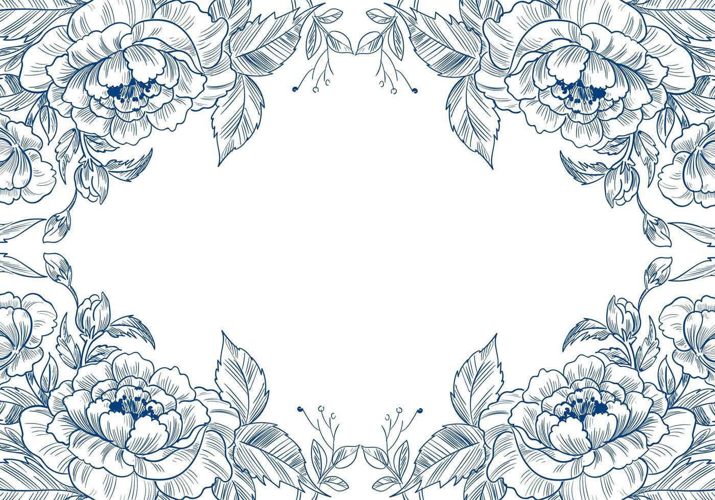 schöne dekorative Skizze Blumenrahmen vektor