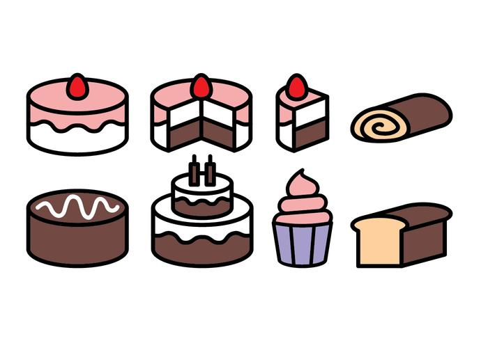 Free cake icon set vektor