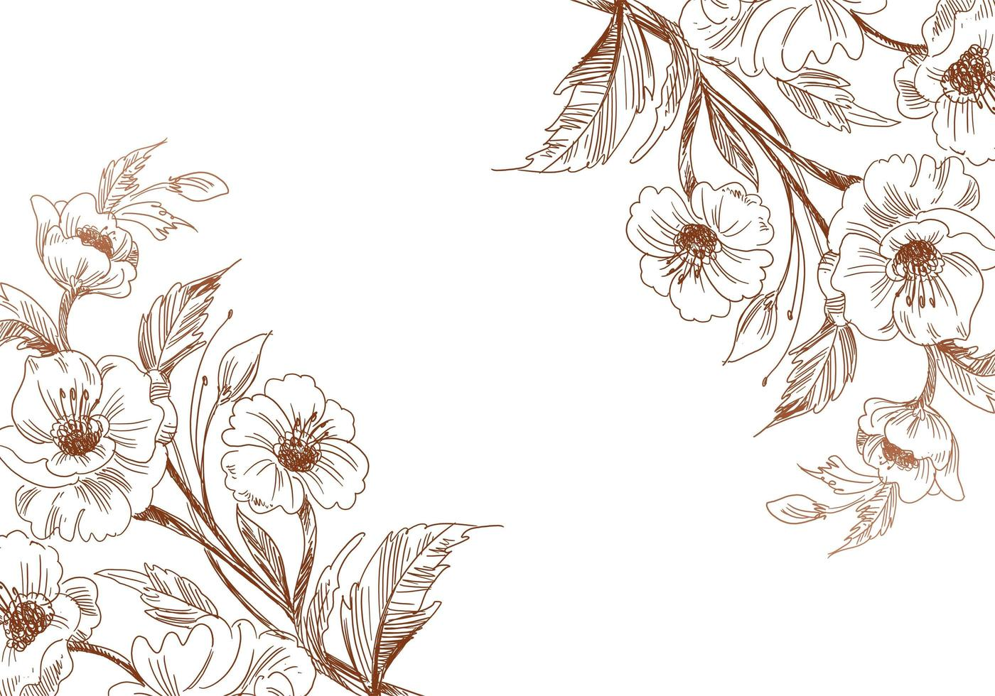 künstlerische Vintage Skizze Hochzeit Blume Ecken vektor
